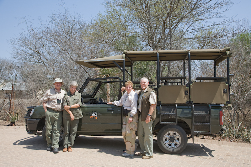 Me with Ann Porter and Bev with John Porter.  They were our excellent hosts in Kruger Park & made our trip a wonderful experience.