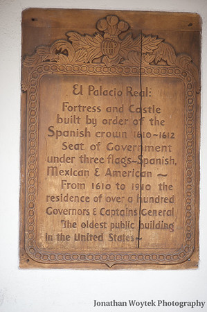 Placard on the Palace of the Governors, Santa Fe, NM.