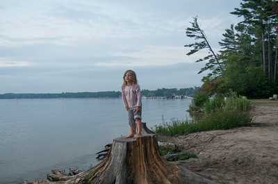 Ada decided to stand on a tree stump.