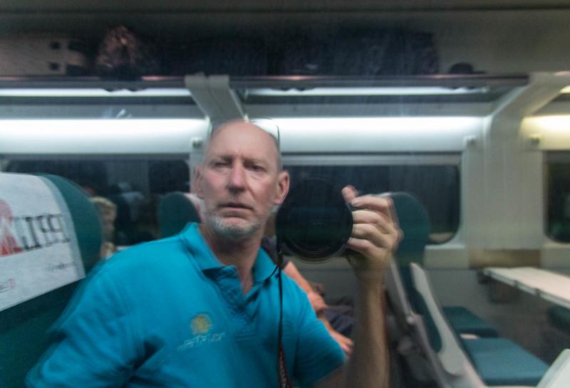 Geoff on the train