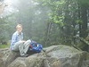 06/12/04, 11:30AM, Doreen on the summit rock of Mt. Rogers, VA. (EL. 5729') This was her 7th State Highpoint.