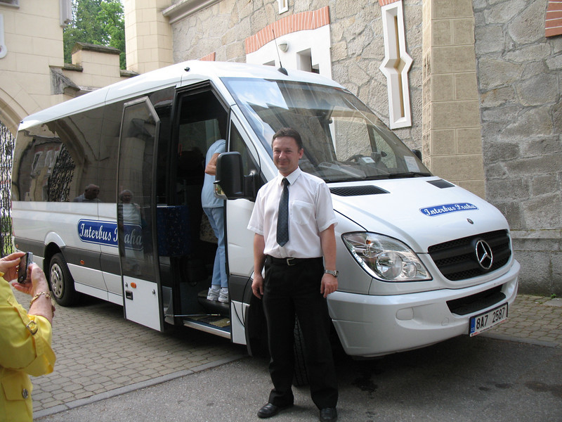 Our Driver, Peter with our little Bus
