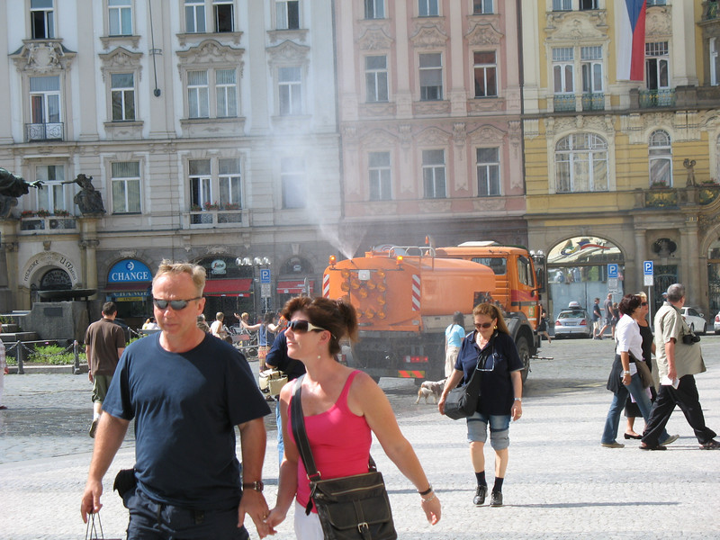 Cooling off the tourists with water spray