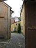 Narrow cobblestone street (City of Cesky Krumlov)