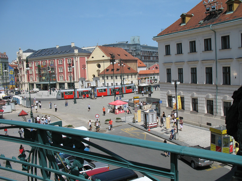 View of street from the Municipal House balcony