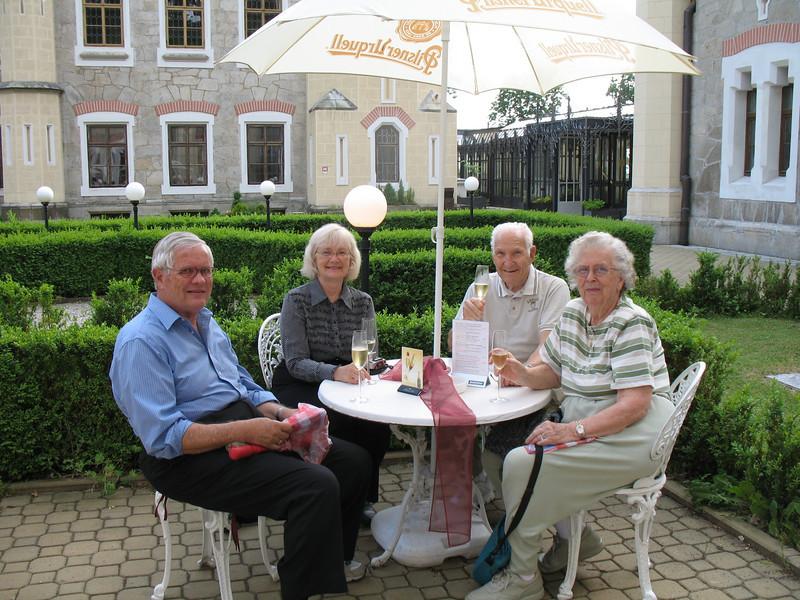 Gary, Marian, Russ and Joan enjoying before dinner champagne -<br /> Stekl Restaurant