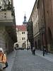 Typical narrow cobblestone Prague street