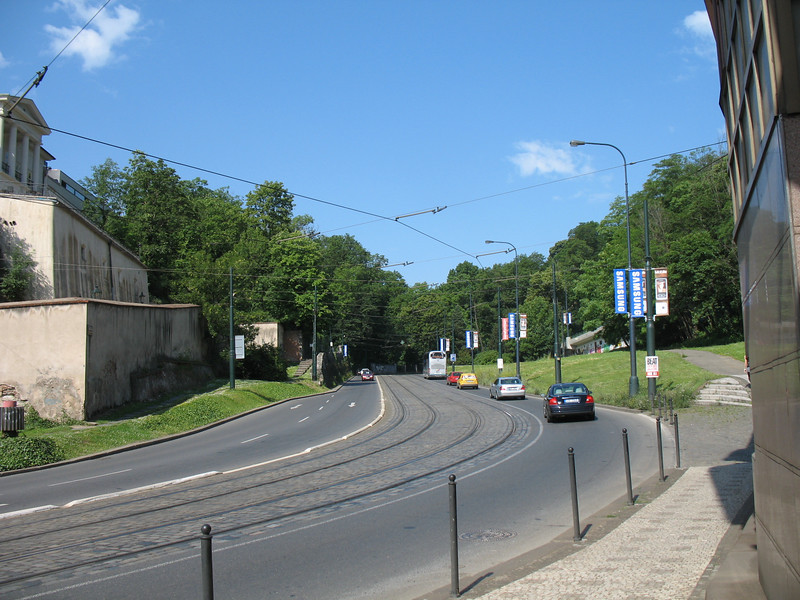 Looking up the street from the Hoffmeister