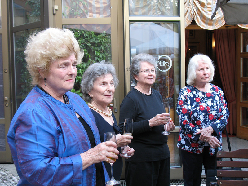 Judith, Charlotte, Jean and Natalie listening to the toast for Jirina