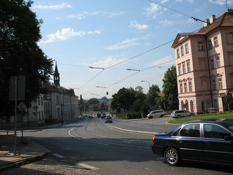 Looking down the street from the Hoffmeister