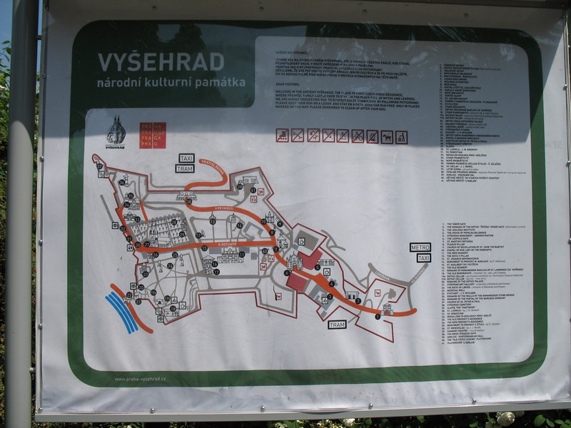 Guide map Vysehrad Castle