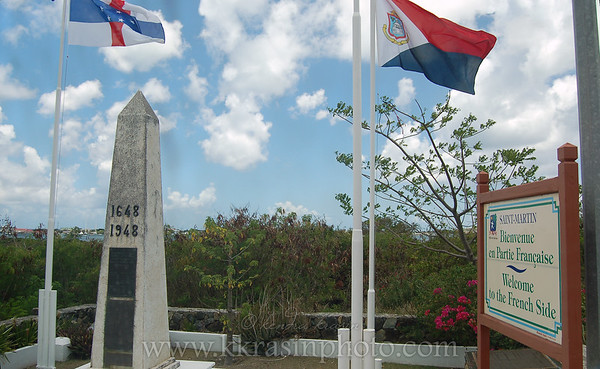 The border between French St. Maarten and Dutch St. Martin