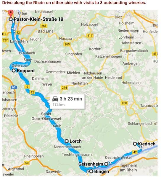 Wine Day 12 Map - Trier- Mertesdorf-Bernkastel Kues- Zell - Boppard - 11/9/2015