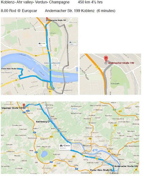 Wine Day 14 Map - Koblenz- Ahr valley- Verdun- Champagne - 12/9/2015