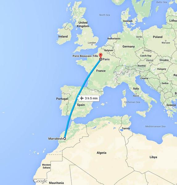 Paris to Marrakech flight path - Easyjet3869 Seat 20F (Window RHS) 15:50 Paris - 18:20 Marrakech  13/September/2015