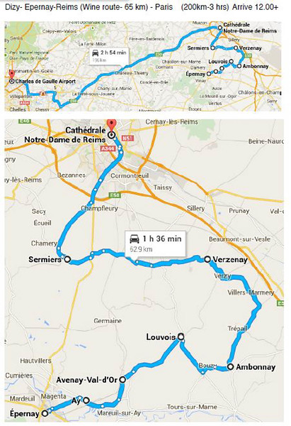 Wine Day 15 Map - Dizy- Epernay-Reims- Paris