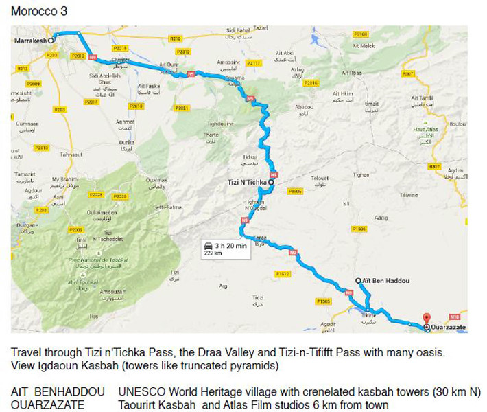 Map - Marrakech--Tizi n'Tichka-Ouarzazate