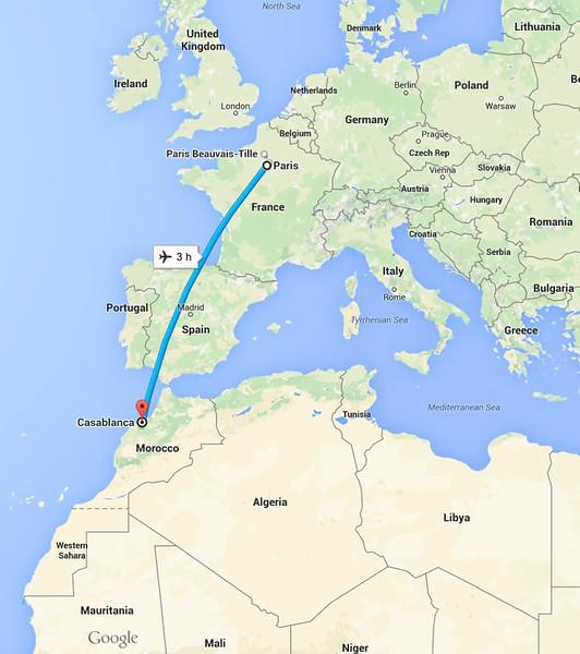Casablanca to Paris flight path