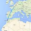 Casablanca to Paris flight path - 19/9/2015