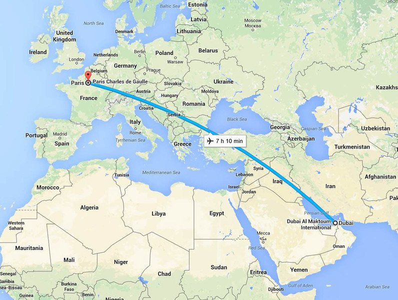 Paris to Dubai flight path - Homeward bound