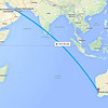 Dubai to Perth flight path final homeward leg