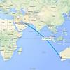 Perth to Dubai flight path