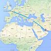 Dubai to Paris flight path
