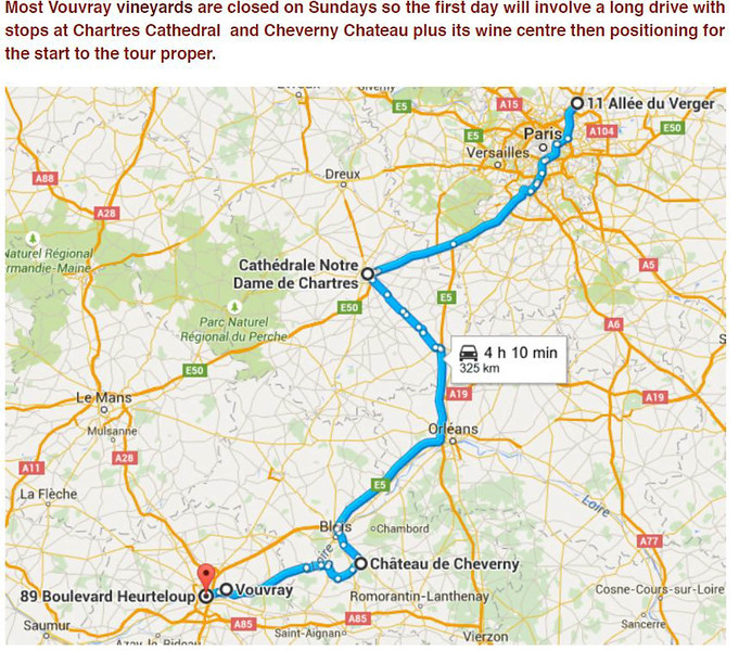 Wine Day 1 Paris-Chartres-Cheverny-Tours