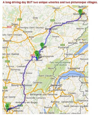 Wine Day 8 Map - Lyon- Baume-les-Messieurs- Château-Chalon- Arbois- Montbeliard - 6/9/2015