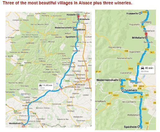 Wine Day 9 Map - Montbéliard- Egusheim- Turckheim- Riquewihr-Kientzheim-Colmar - 7/9/2015