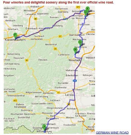 Wine Day 11 Map - Wissembourg- Deidesheim- Grosskarlbach Laumersheim- Kaiserlautern - 9/9/2015
