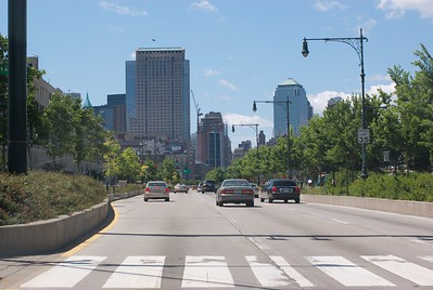 Not much traffic on the West Side highway this day.