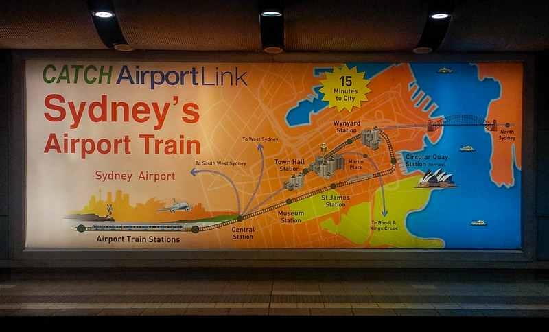 Traing line advert at Sydney Airport