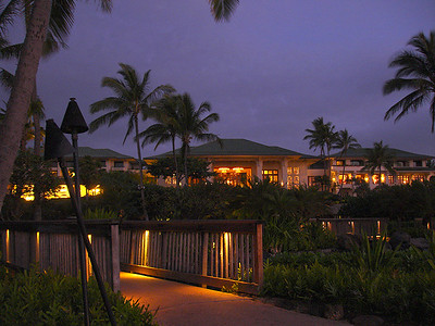 Our hotel, the Grand Hyatt Kauai, taken at sunrise on the morning we left.