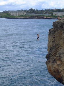 One of three teenagers we saw go off the cliff at the east end of Shipwreck Beach during the week, 50ft give or take.