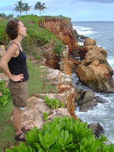 Hike along the lithified sandstone cliffs east of Shipwreck Beach. The Poipu Bay golf course is just off to the left.