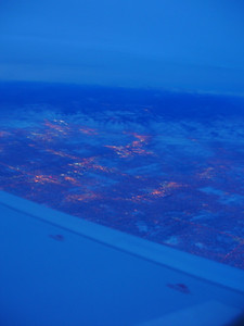 Leaving behind a blurry, pre-dawn winter morning in Denver (shot from the plane).