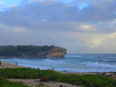 Shipwreck Beach on a partly sunny evening.