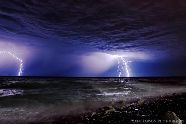 Lightning over Lake Michigan, Kenosha, WI.