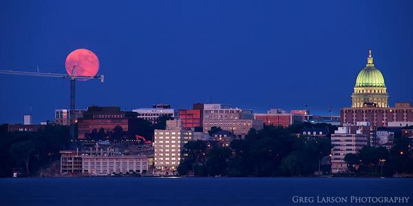 Supermoon rises over Madison