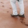 Lake Ballard - Roger walking on the wet muddy lake floor