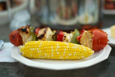 Some eats, corn on the cob, and shish kebab.