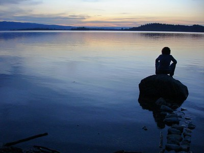 A time for reflection. Sunset. Flathead Lake, Montana.