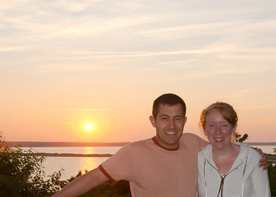 Bob and Laura in front of the evening sunset in front of the Cedar Point Campground in Montauk , New York.