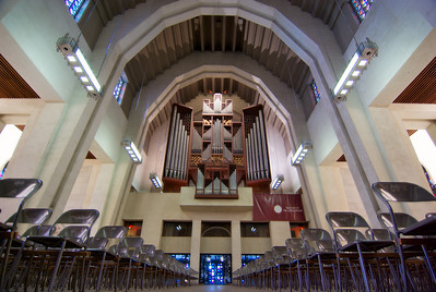 "Talk about an organ.    Listed # 62 on the listing of largest organs: http://www.theatreorgans.com/laird/top.pipe.organs.html  For the church, choosing an organ made by the German Rudolf von Beckerath (St. Joseph's is still this firm's biggest organ to date) was a daring move to make in the land of the Casavant brothers, to say the least. ""The organ-making world on this continent was stunned because it was a mechanical organ, and that amounted to what seemed like a step backward,"" says Bélanger. ""This 42-tonne organ has 5811 pipes, 78 stops, and five manuals. It's an eight-storey building, practically speaking. The stop mixer, which includes classical French organ sounds as well as sonorities close to the German baroque style, makes it a rather multi-purpose instrument on which you can play a fairly large repertoire."""