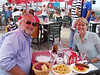 Salads gone........ Just a few more tapas to go before our domingo siesta! Don't ask what happened to my hair?