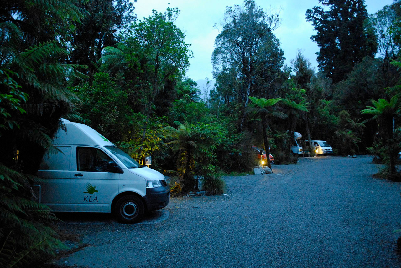 Our home for two nights in Franz Josef, the Rain Forest Retreat. One of our favorite campgrounds. The second morning we woke up to 6 inches of fast moving water threatening to carry the entire camper van into the forest. We kept the showers short and were glad for our Chacos.
