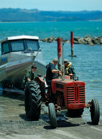 Every home along the shore of the Coromandel had a tractor parked out front to move their boat to and from the sea.