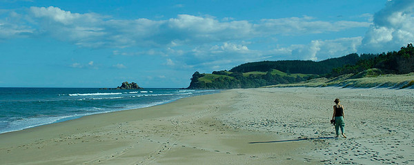 The the southern end of the three mile long beach just a few yards from our campsite in Opoutere. We walked the full length one morning and saw only two people and two dogs.