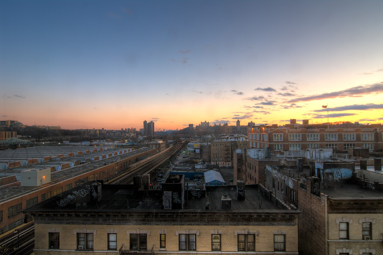 Looking south from 213th street from Art Salon exhibit area.